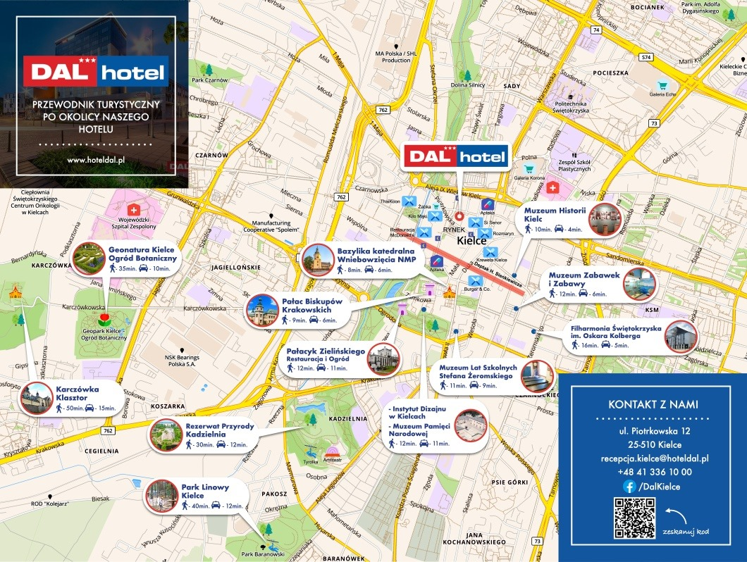 Mapy turystyczne dla Hotelu Dal w Kielcach