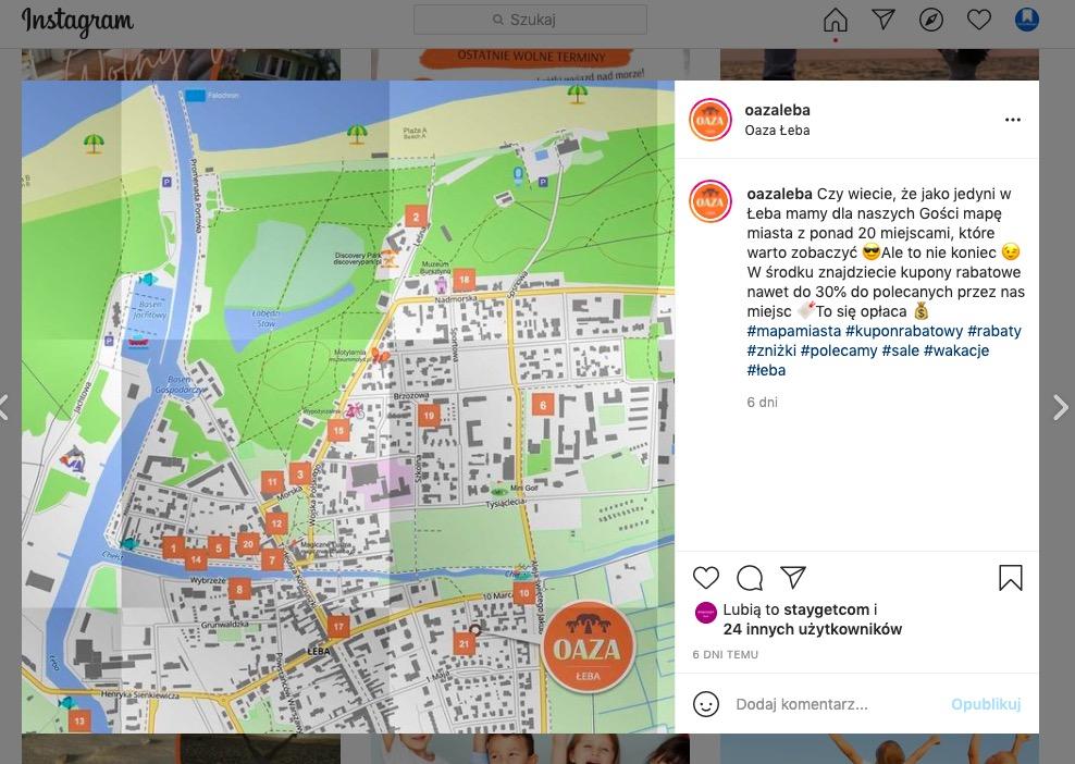 Mapy z kuponami rabatowymi dla Oaza Łeba
